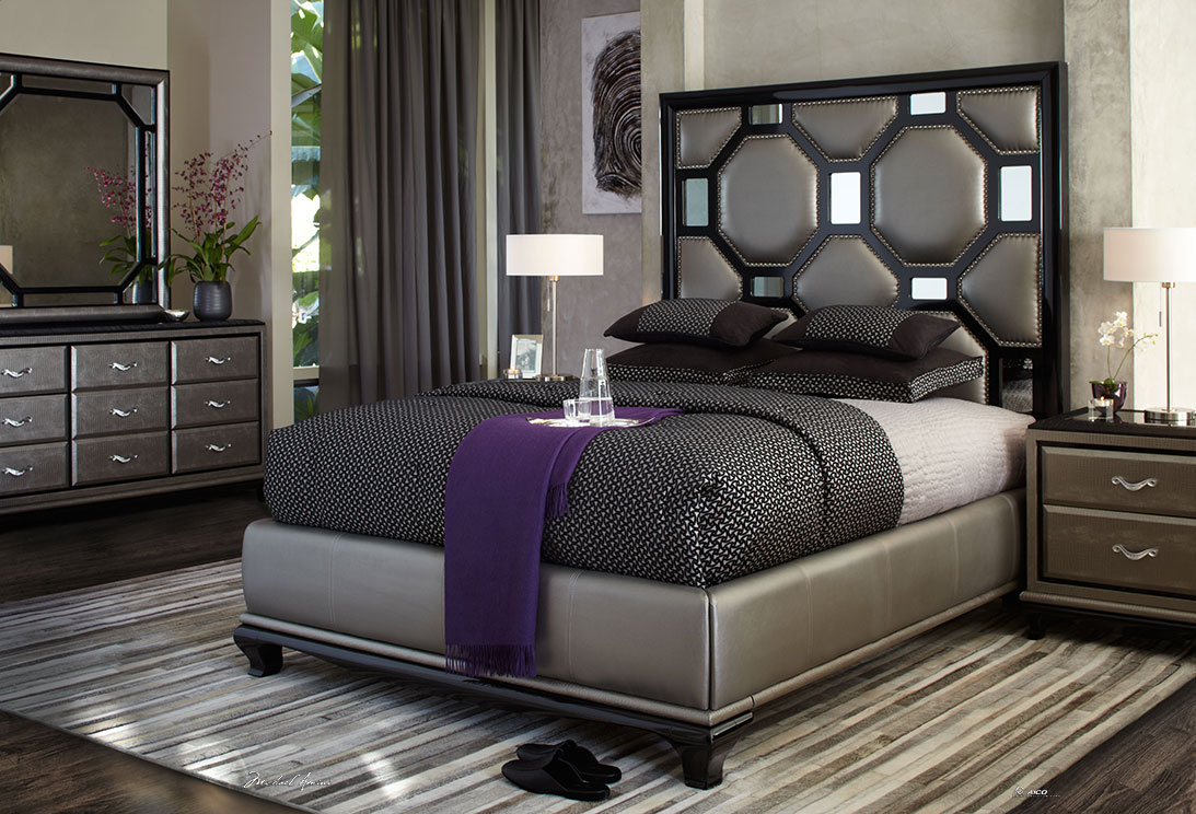 elegant bed with mirrored headboard by aico furniture with black bedding for interesting bedroom decor ideas