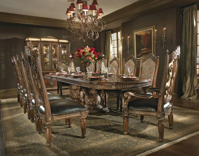 Elegant Dining Table Set By Aico Furniture Under The Wonderful Chandelier For Dining Room Decor Ideas