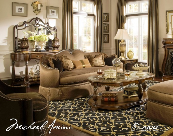 Elegant Sofa Set In Brown With Wooden Table By Aico Furniture On Floral Black Rug For Living Room Decor Ideas