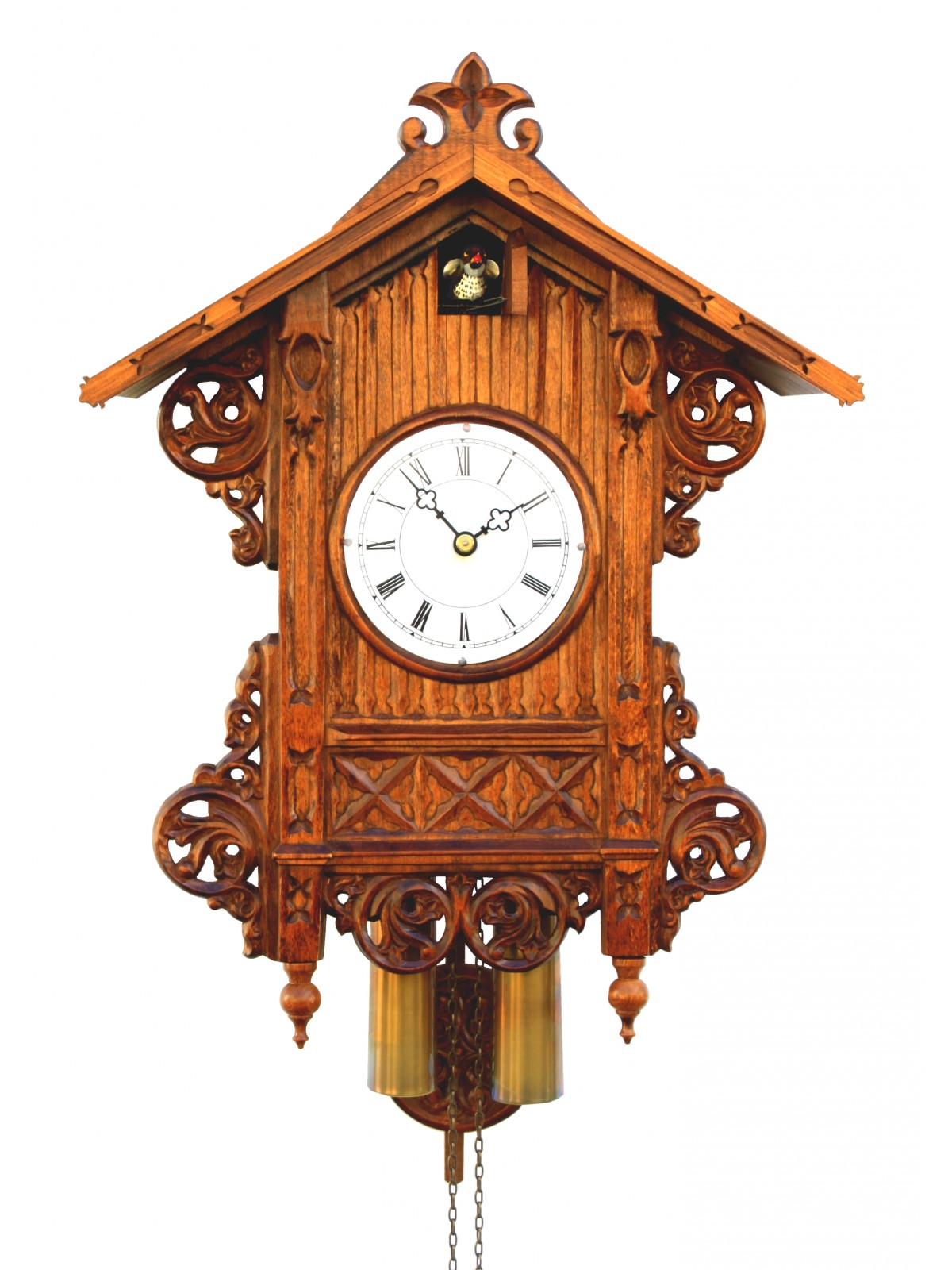 Exclusive cuckoo clock in brown made of wood with awesome carving for home accessories ideas