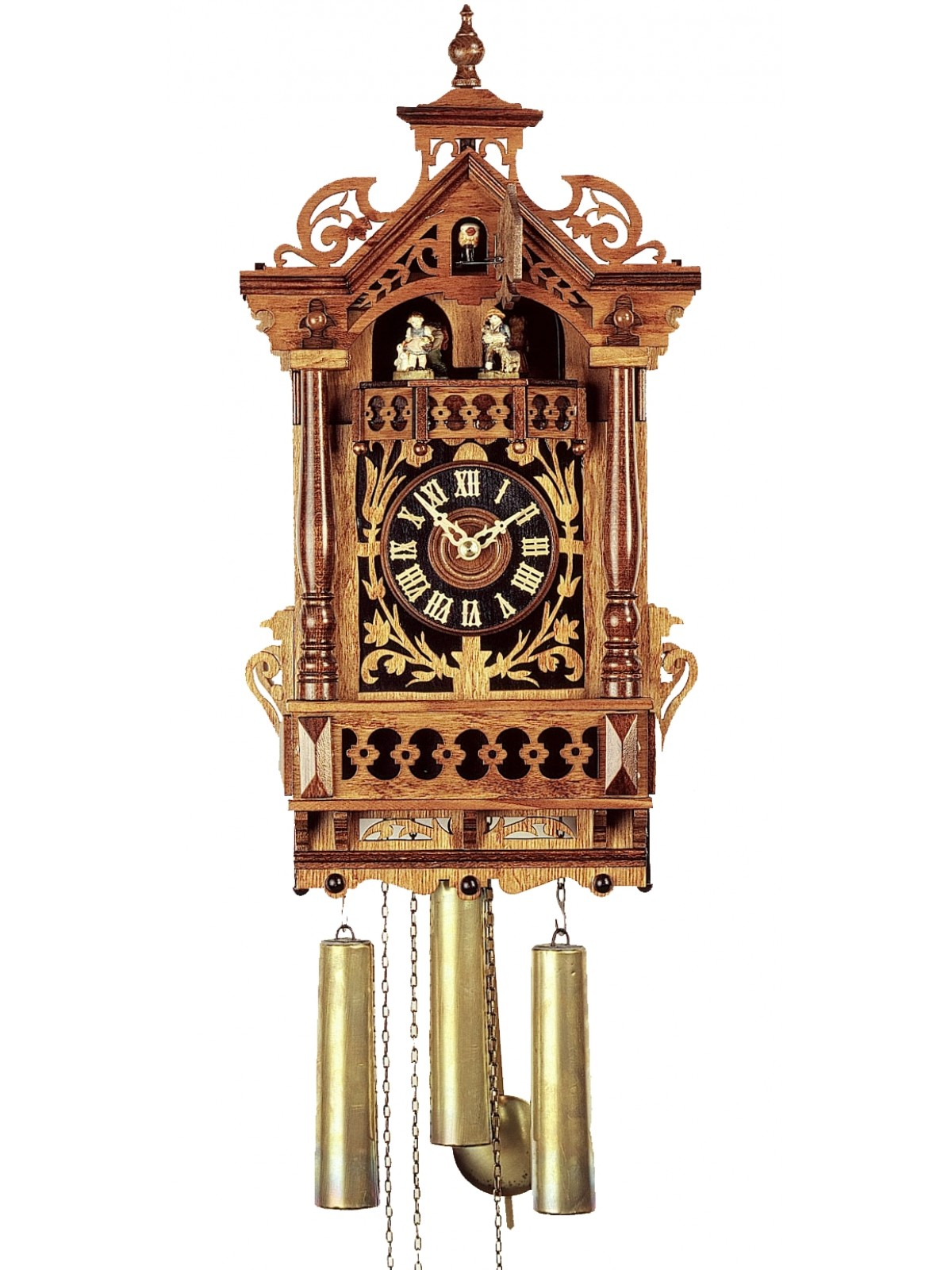 Exclusive cuckoo clock in brown made of wood with awesome carving for home furniture ideas