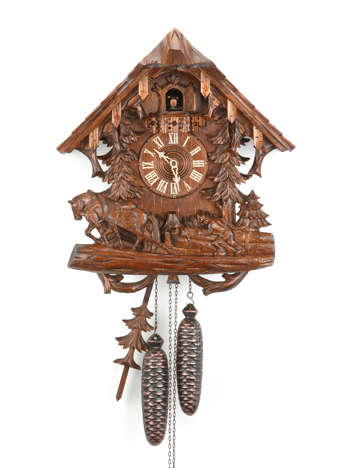 Exclusive cuckoo clock in brown made of wood with horse ornament for home accessories ideas