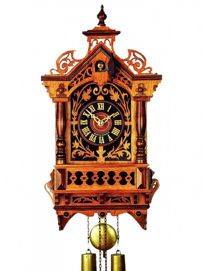 Exclusive Cuckoo Clock In Brown Made Of Wood With Wonderful Carving For Home Accessories Ideas