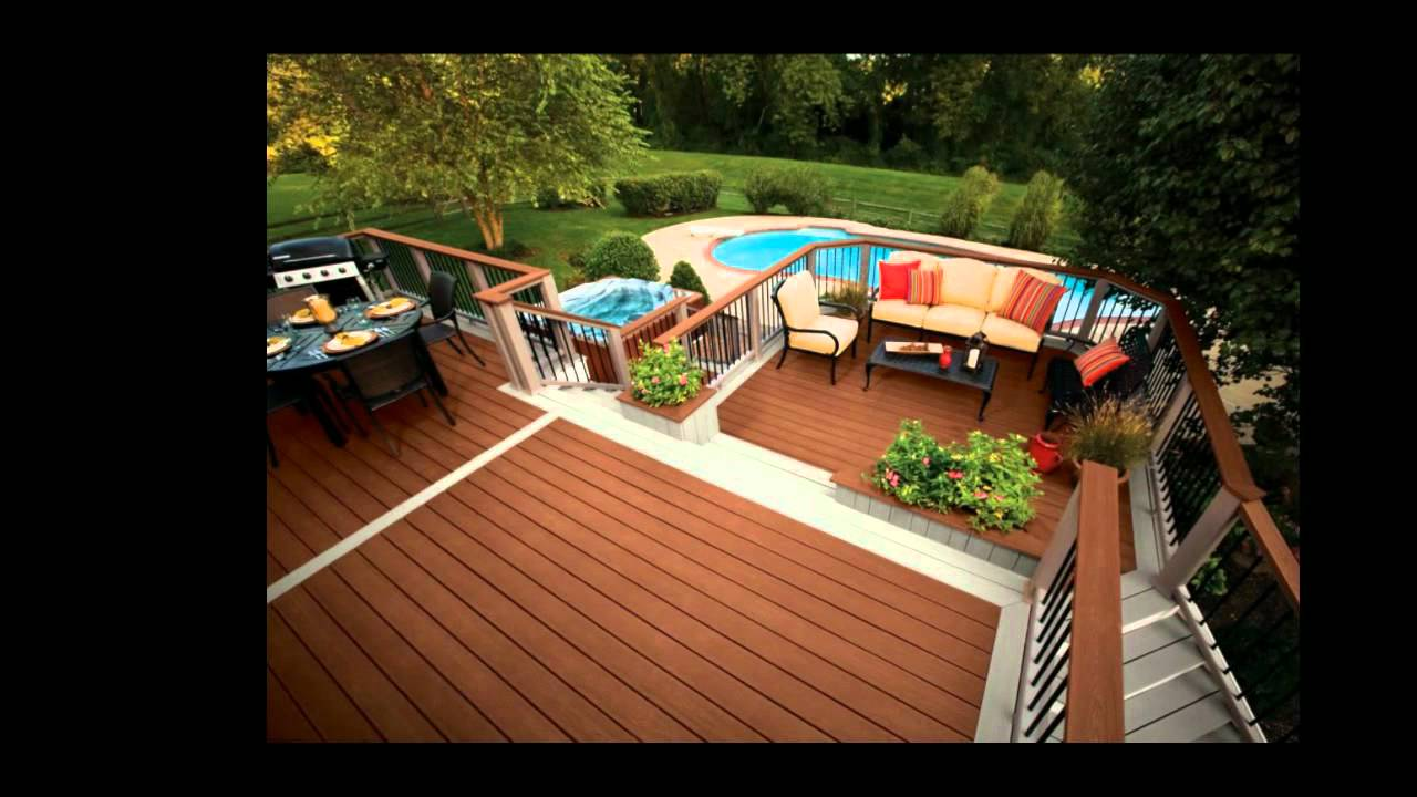 expensive trex decking cost in brown wooden matched with brown black railing plus sofa set for patio decor ideas