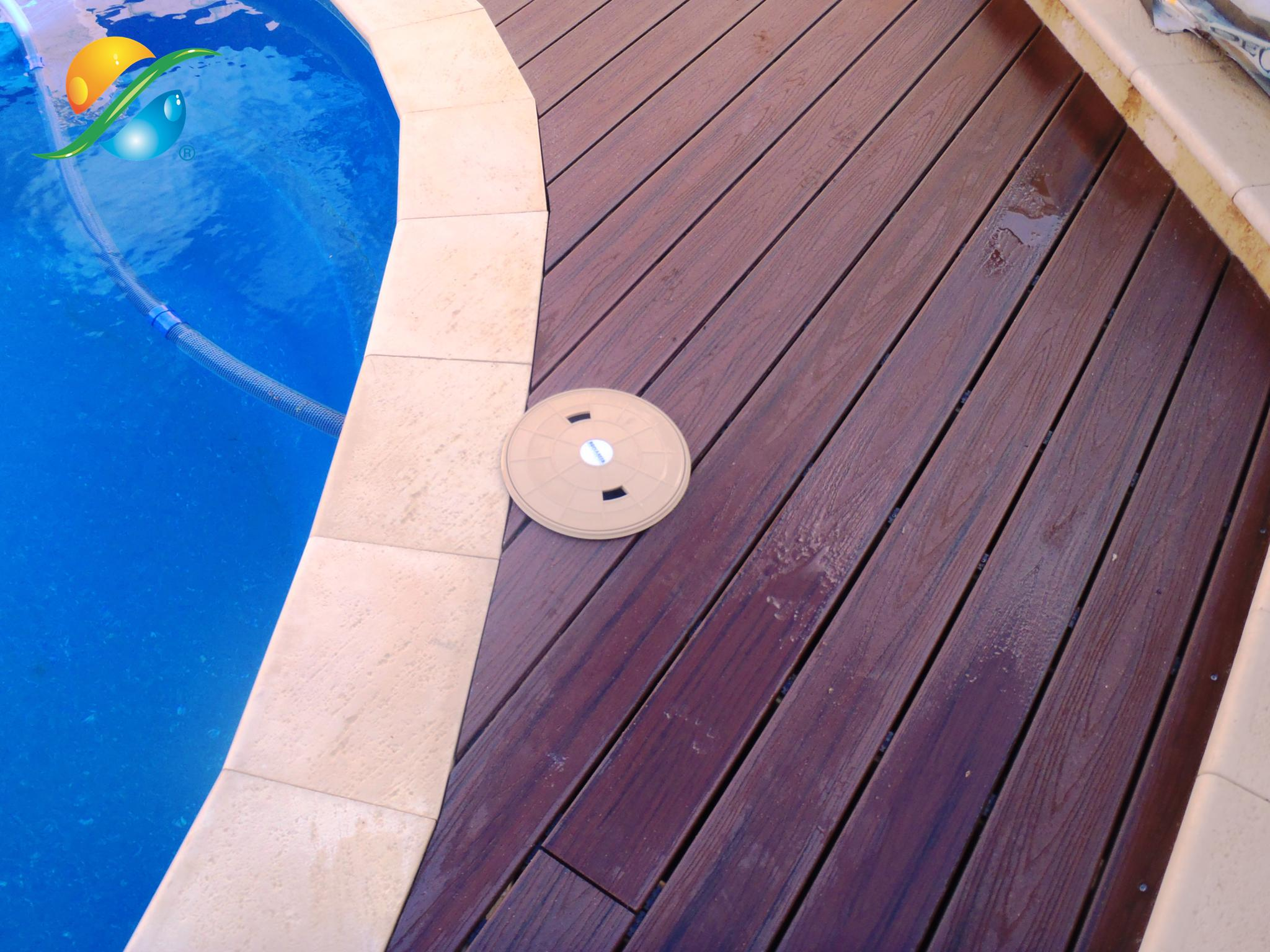 expensive trex decking cost in wooden brown with swimming pool for patio decor ideas