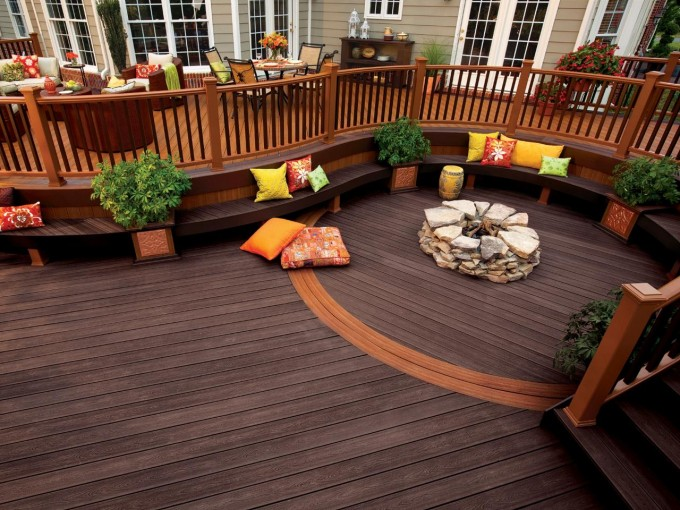 Expensive Trex Decking Cost With Chic Bench Plus Firepit For Patio Decor Ideas