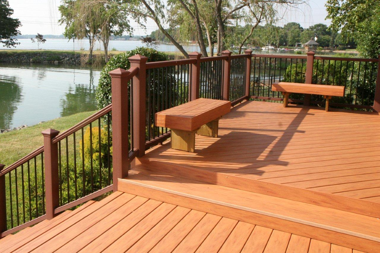 expensive trex decking cost with high quality wood material matched with wooden railing plus staircase for patio decor ideas