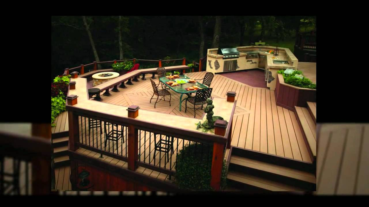 expensive trex decking cost with wooden material matched with wooden railing plus outdoor kitchen island and dining table set for charming patio decor ideas