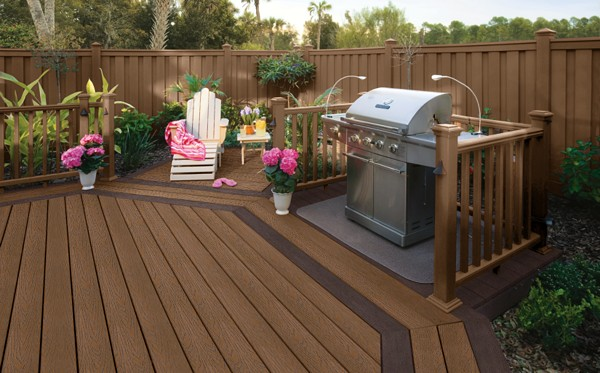 expensive trex decking cost with wooden railing plus outdoor stove for patio decor ideas