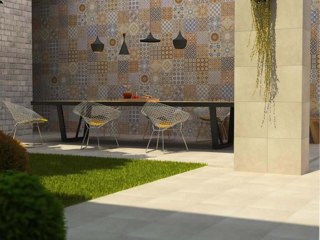 exterior design with interceramic tile floor and wall decor plus long dining table and unique chair ideas