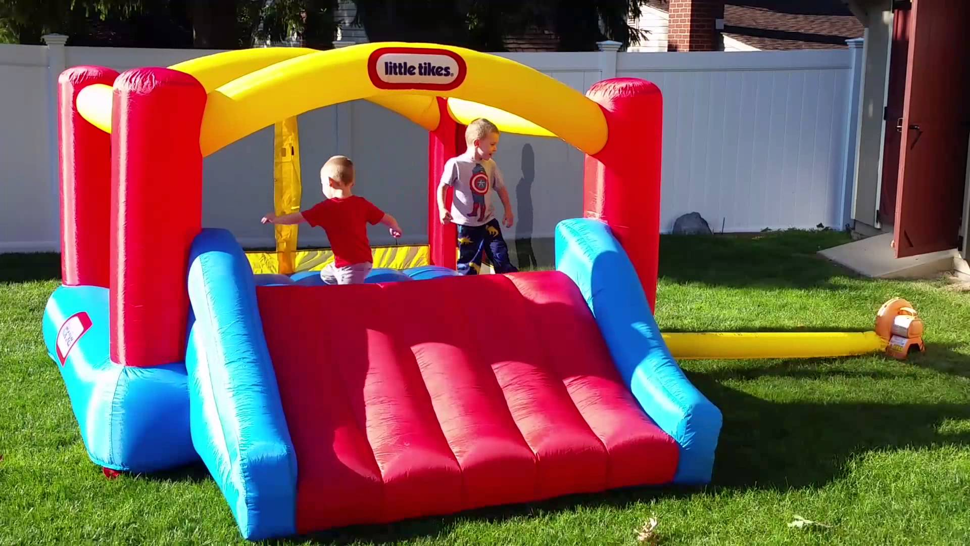 fancy little tikes bounce house made of caoutchouc with slide for play yard ideas