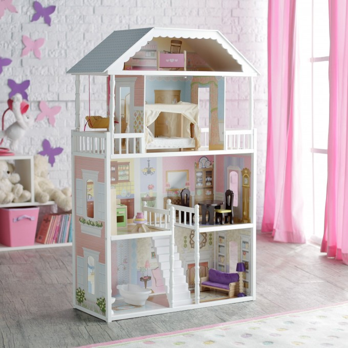 Fantastic Nursery Decor With White Wall Matched With Wooden Floor Plus Pink Curtain And Kidkraft Dollhouse Made Of Wood In Four Tier Design And White Theme Ideas