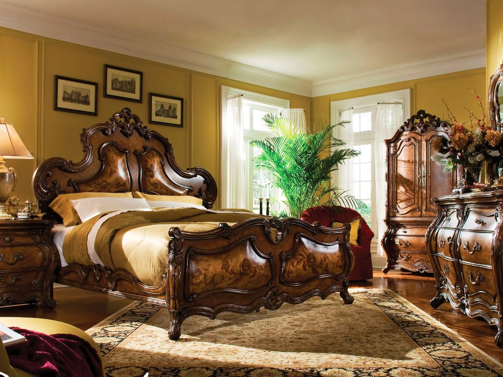 Fascinating wooden bed in brown by aico furniture with cream bedding for bedroom decor ideas