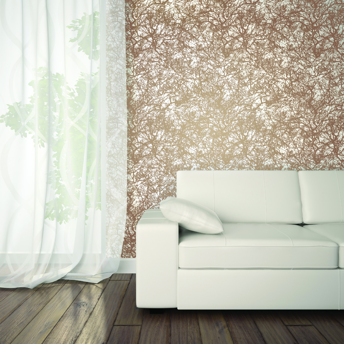 Forest Self Adhesive Wallpaper in Copper design by tempaper wallpaper matched with brown wooden floor plus white sofa for living room decor ideas