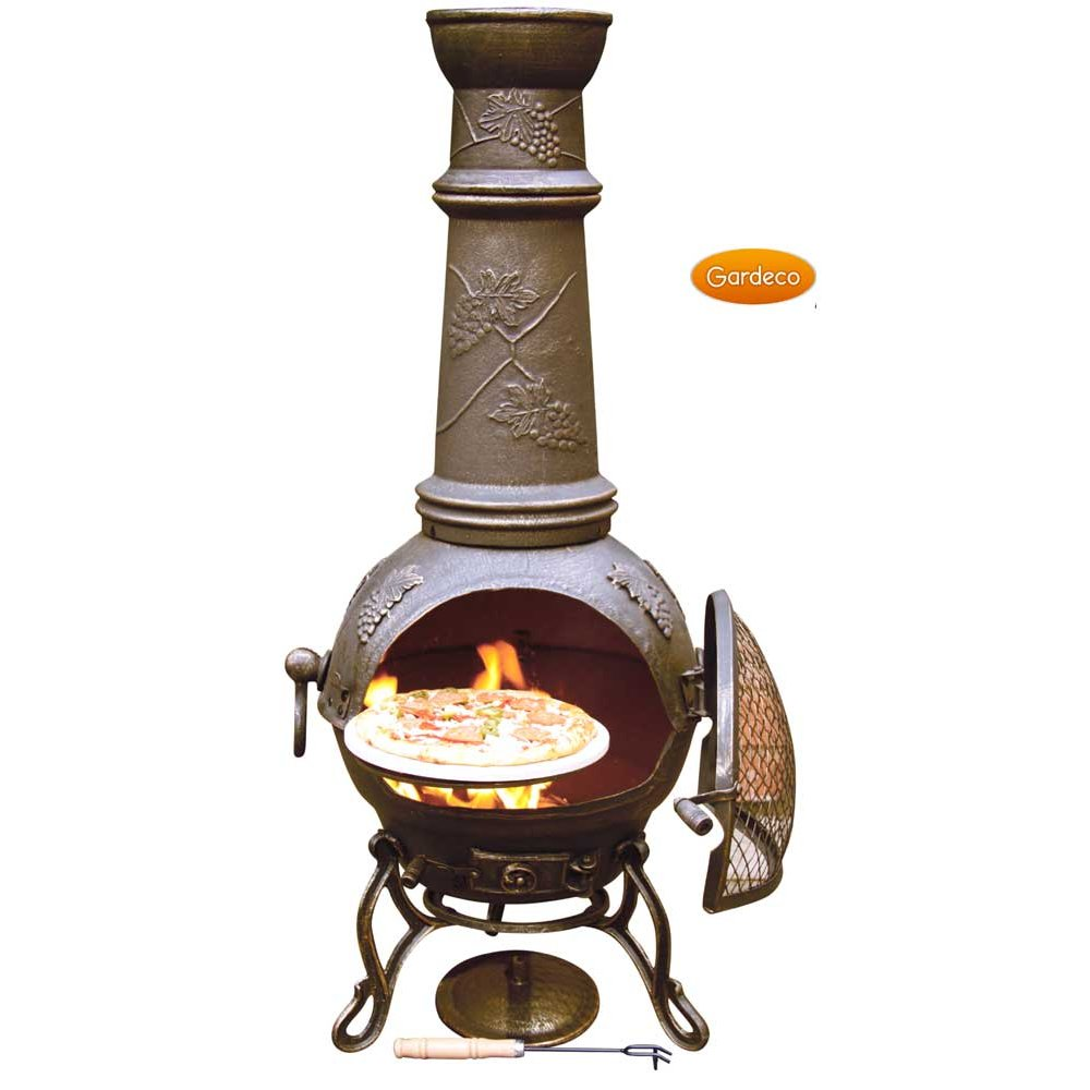 Gardeco Toledo Grapes Chiminea Bronze Cast Iron Finish For Patio Furniture Ideas