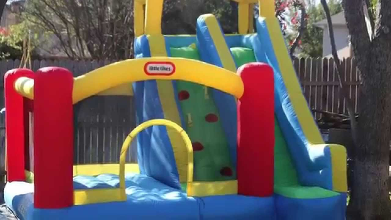 Fancy Little Tikes Bounce House For Play Yard Ideas: Giant Little Tikes Bounce House Made Of Caoutchouc With Double Large Slide For Play Yard Ideas