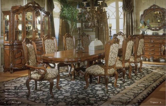 Glass Dining Room Sets 3 Dining Room By Aico Furniture On Floral Rug For Dining Room Decor Ideas