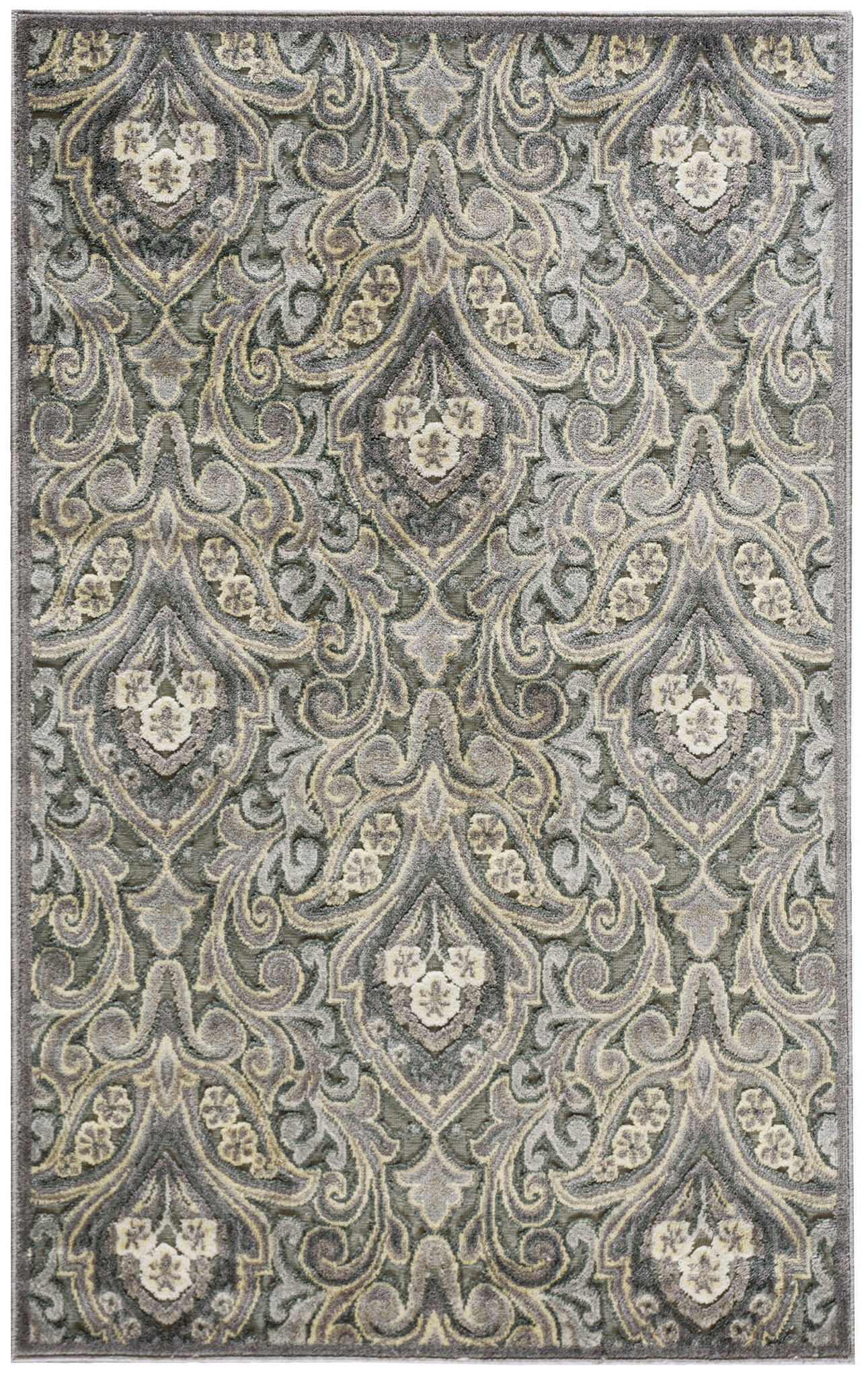 Graphic Illusions Collection Area Rug in Grey Damask design by nourison rugs for floor decor ideas