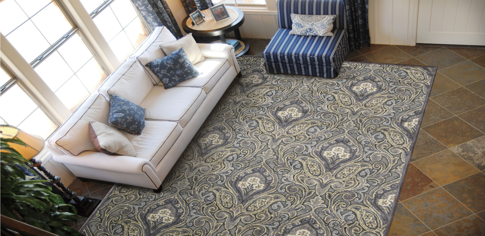Decorating have a wonderful floor with nourison rugs ideas graphic illusions collection area rug in grey damask design by nourison rugs on brown tile floor dailygadgetfo Gallery