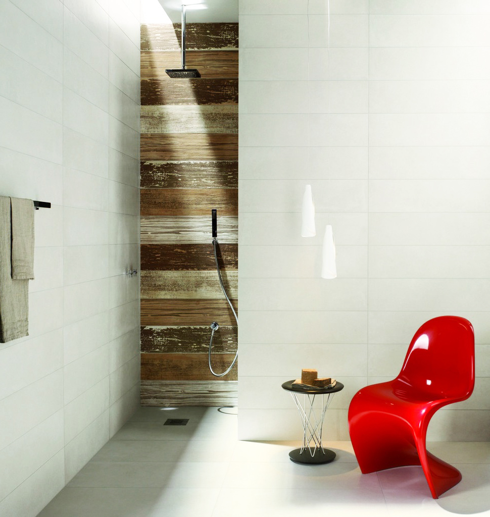 interceramic tile floor matched with white wall plus red chair and black towel bar for bathroom decor ideas