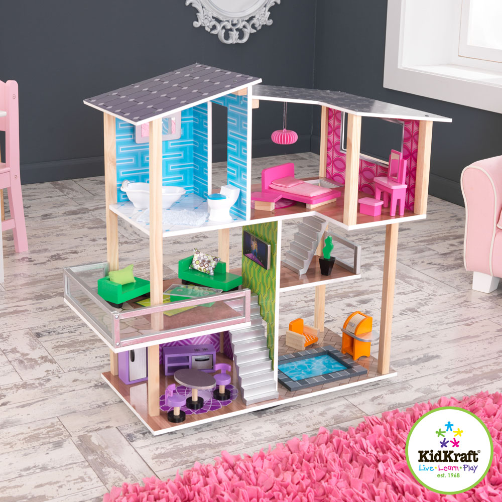 Interesting Nursery Decor With Gray Wall Matched With Wooden Floor Plus Pink Rug And Kidkraft Dollhouse Made Of Wood Ideas