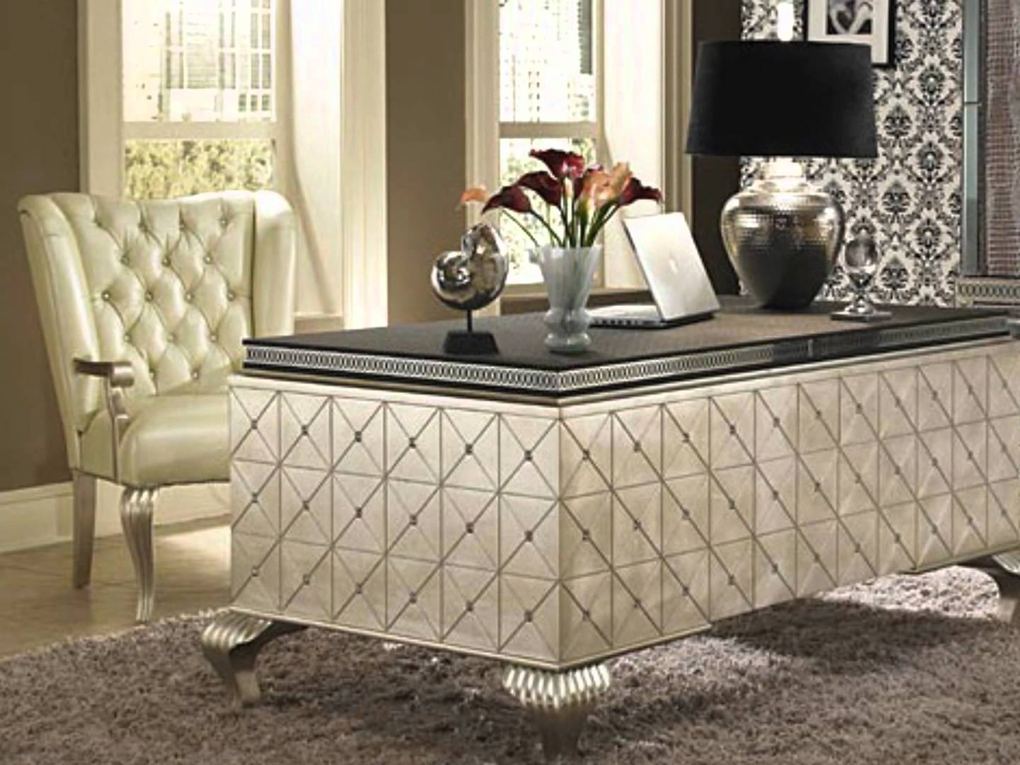 interesting rectangle desk with black top and white tufted chair by aico furniture for home office decor ideas