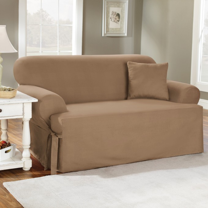 Interesting Sofa With Tan Surefit Cover Plus White Sofa On Wooden Floor Which Matched With Gray Wall For Living Room Decor Ideas