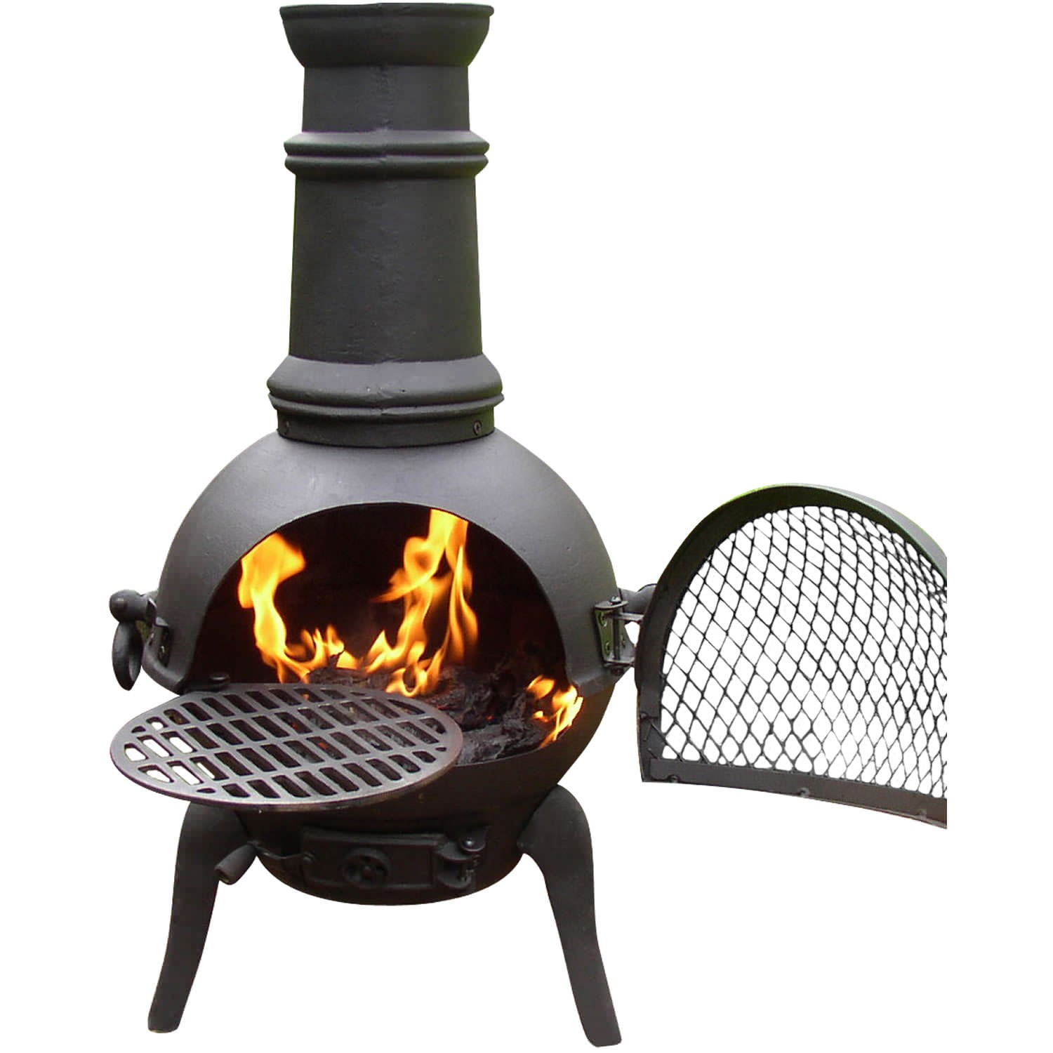 La Hacienda Cadiz Cast Iron Chiminea Small Bronze for outdoor furniture ideas