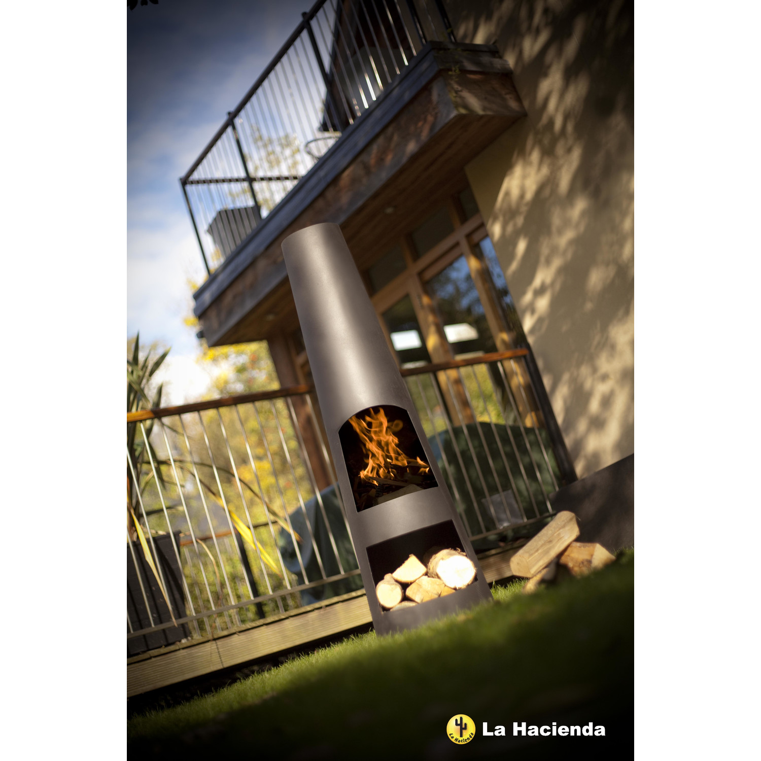 La Hacienda Circo Chiminea In Black For Patio Furniture Ideas