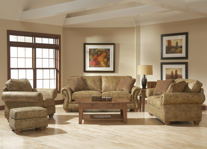 Laramie Sofa With Nail Head Trim By Broyhill Furniture On Wooden Floor Which Matched With Ivory Wall Plus Pictures For Living Room Decor Ideas