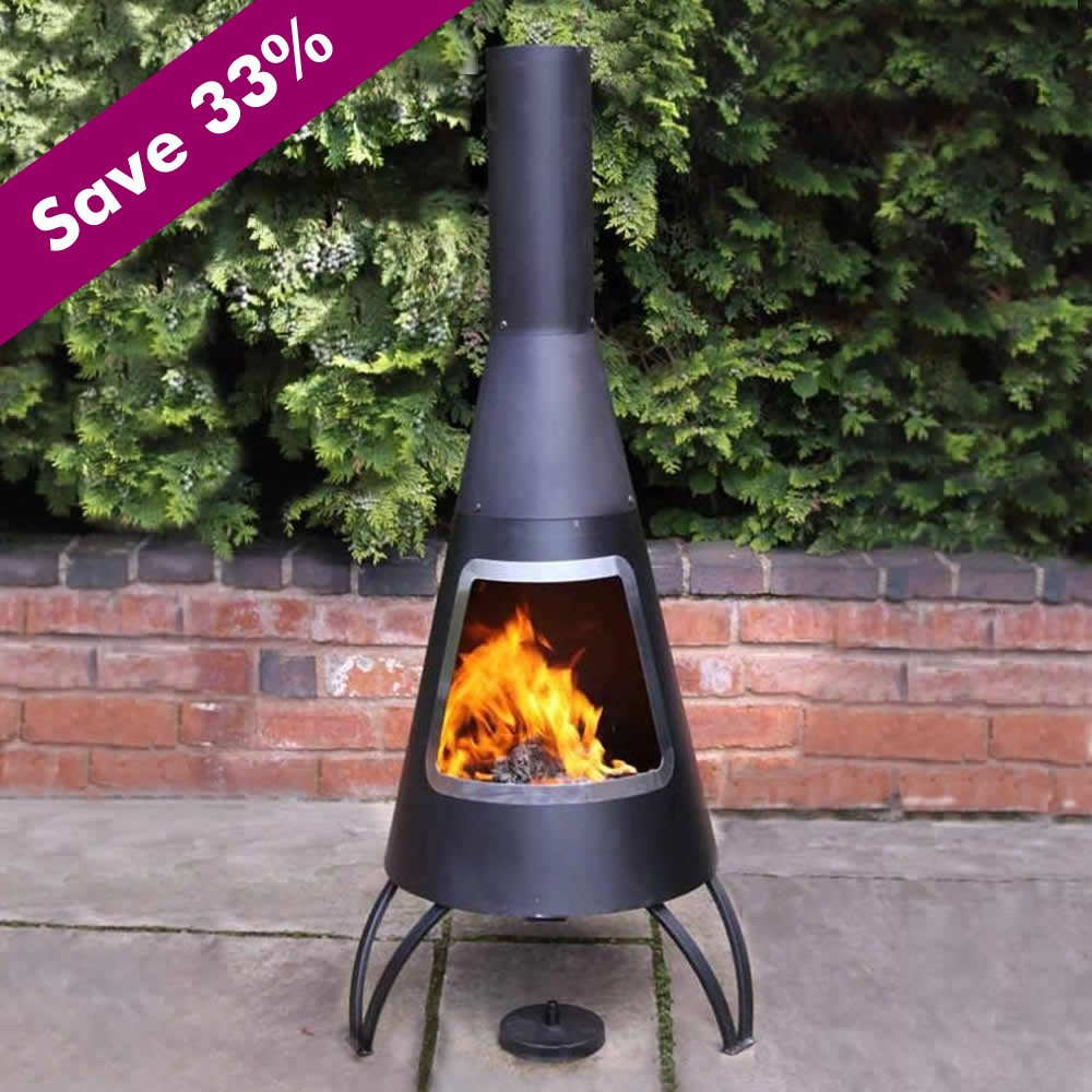 lovely black chiminea fireplace in unique design for outdoor fireplace ideas
