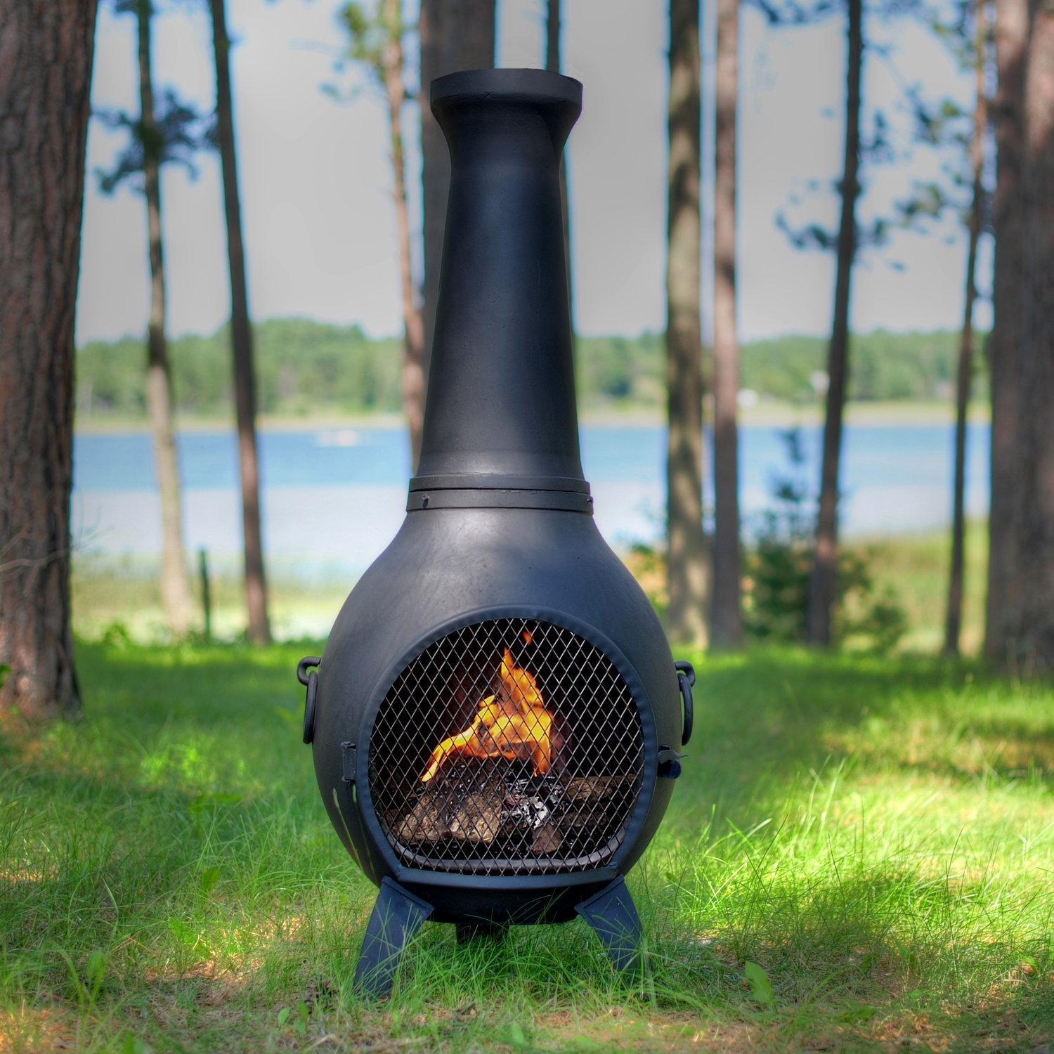 Lovely Black Chiminea Outdoor Fireplace For Outdoor Furniture Ideas
