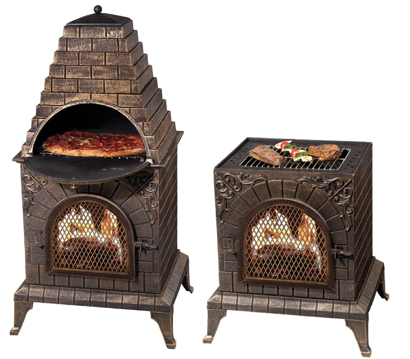 lovely brown chiminea in stylish design for outdoor fireplace ideas