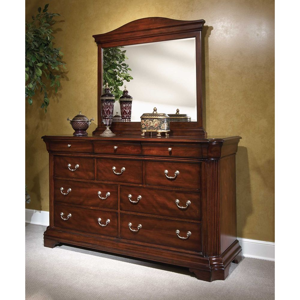 Filled Your Home With Broyhill Furniture Ideas: Lovely Brown Wooden Dresser With Silver Handle And Mirror By Broyhill Furniture For Home Furniture Ideas