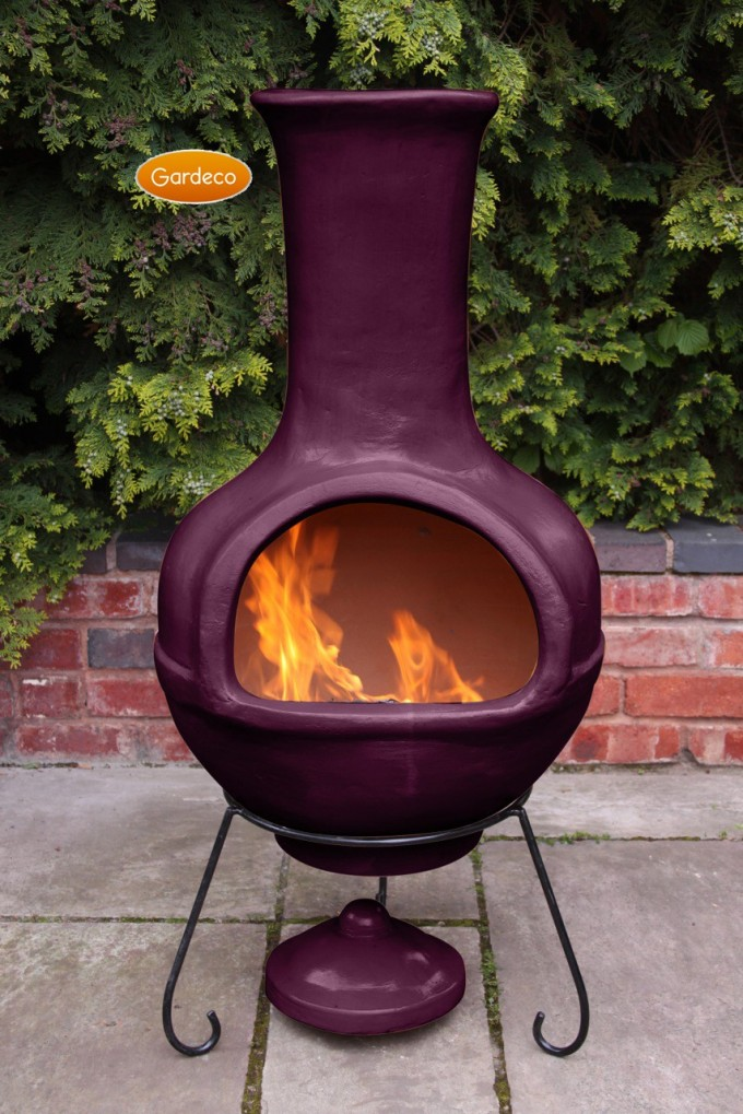 Lovely Clay Chiminea Fireplace In Purple With Black Iron Stand For Outdoor Furniture Ideas