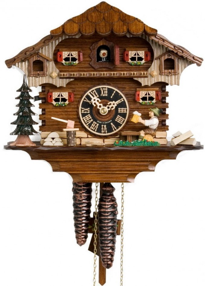 Lovely Cuckoo Clock In Brown And Double Floor Home Design For Home Accessories Ideas