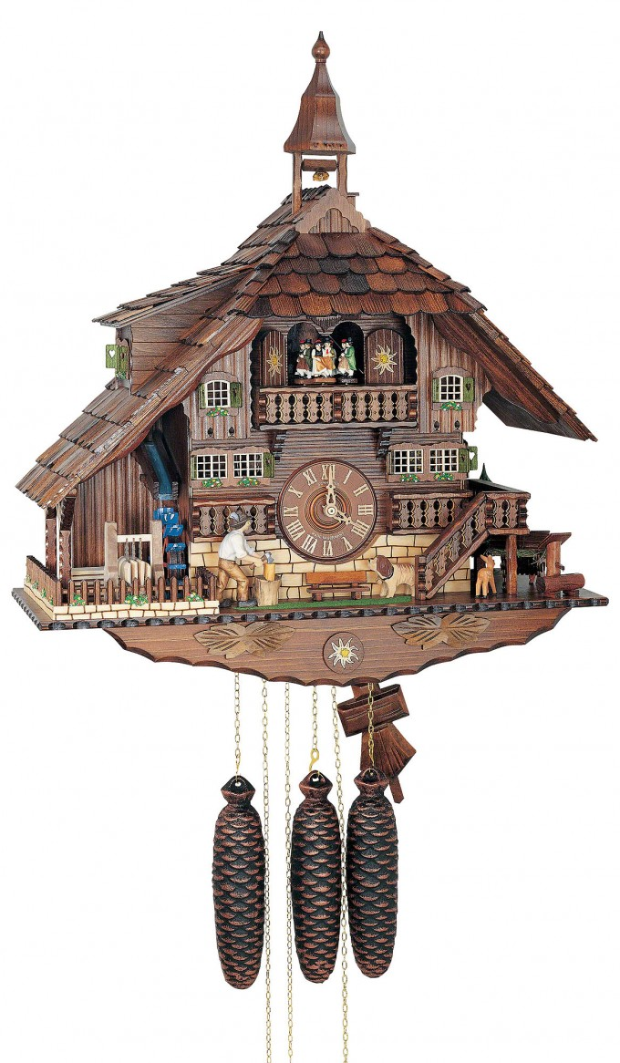 Lovely Cuckoo Clock In Brown And Home Design Made Of Wood For Home Accessories Ideas