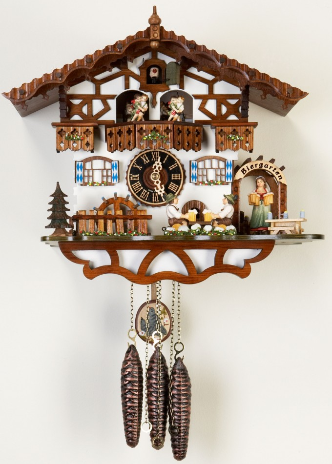 Lovely Cuckoo Clock In White Home With Brown Roof Design For Home Accessories Ideas