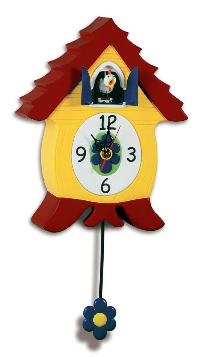 lovely cuckoo clock in yellow and red theme for home accessories ideas