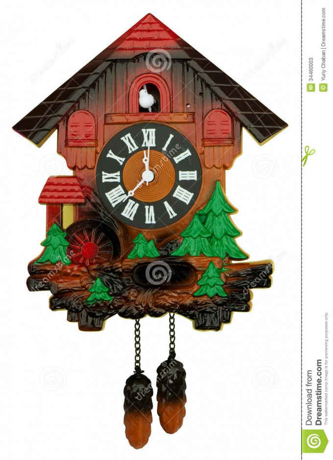 Lovely Cuckoo Clock With Green Tree Ornament For Home Furniture Ideas