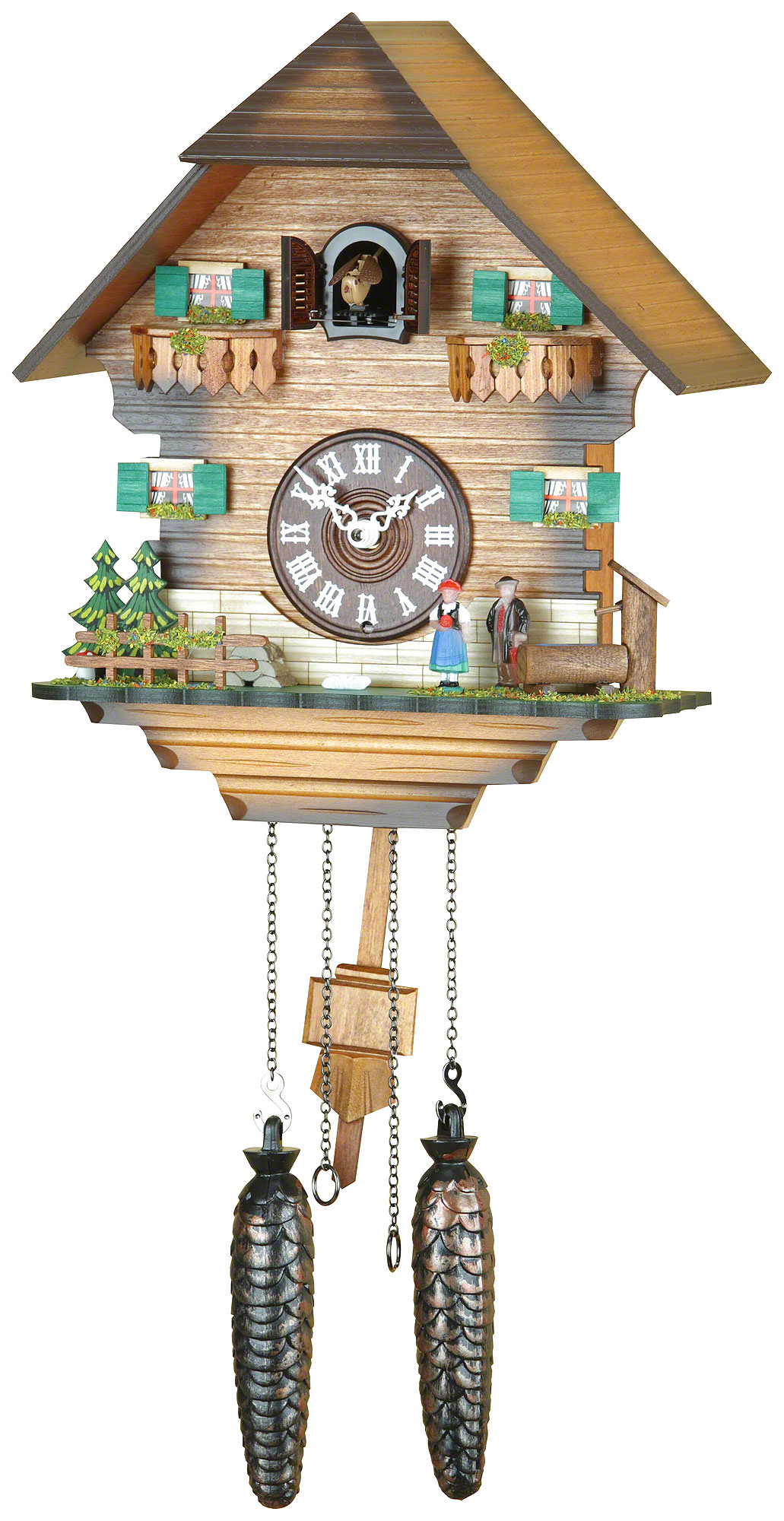 lovely cuckoo clock with tree and couple ornament for home accessories ideas