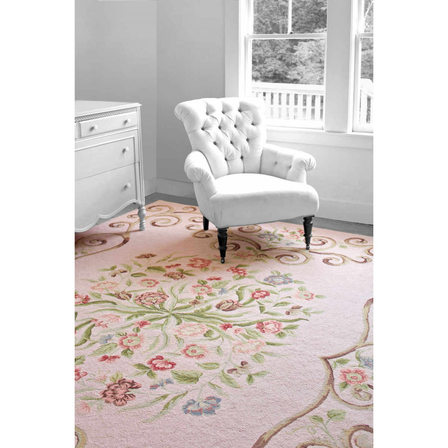 Have A Cute Floor Decor With Dash And Albert Rugs Ideas: Lovely Dash And Albert Rugs Siena Rose Wool Micro Hooked On Wooden Floor Matched With White Wall For Living Room Decor Ideas