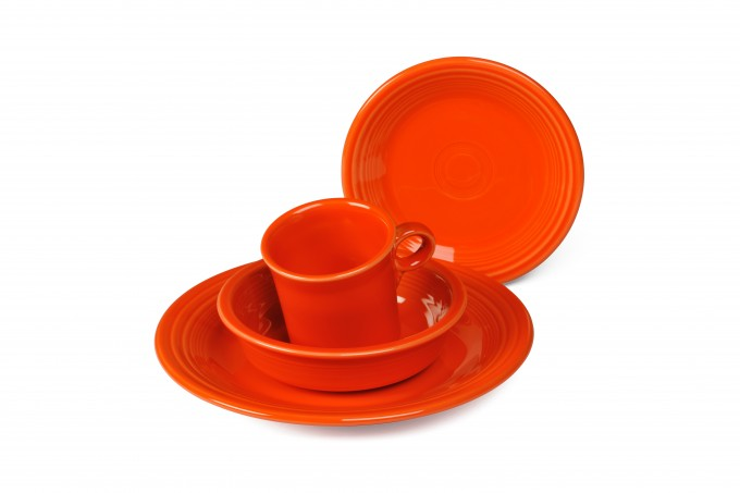 Lovely Four Pieces Plate Setting In Orange Theme By Fiestaware For Dinnerware Ideas