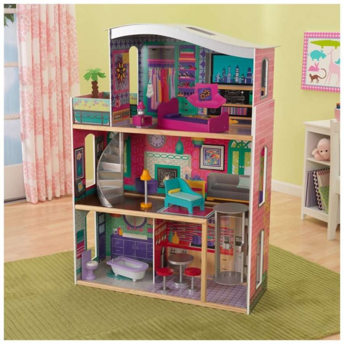 Lovely Kidkraft Dollhouse In Triple Tier Design With Spiral Stair Made Of Wood For Nursery Decor Ideas
