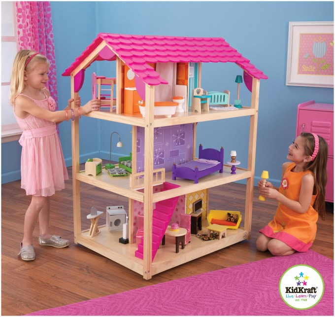 Lovely Kidkraft Dollhouse Made Of Wood In Triple Floor Design With Pink Roof On Wooden Floor Which Matched With Blue Wall With Pink Curtain For Nursery Decor Ideas