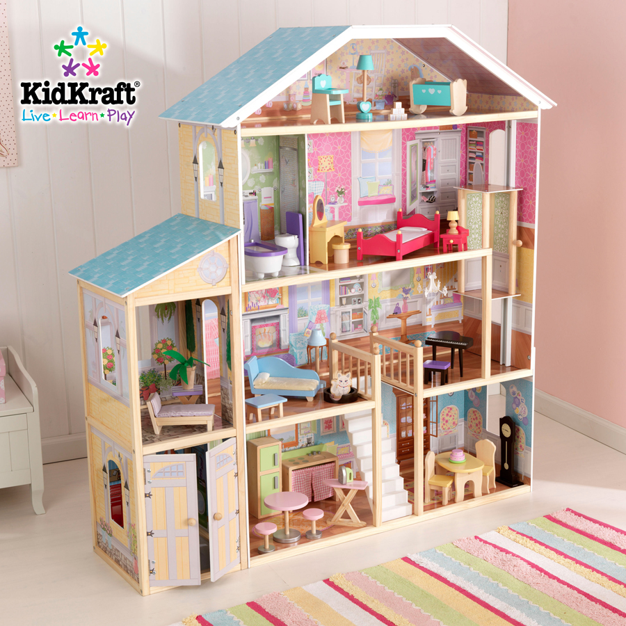 lovely kidkraft dollhouse made of wood with blue roof and triple tier design with white stair for nursery decor ideas
