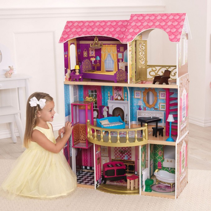 Lovely Kidkraft Dollhouse Made Of Wood With Triple Tier Design On Wooden Floor Which Matched With White Wall For Nursery Decor Ideas