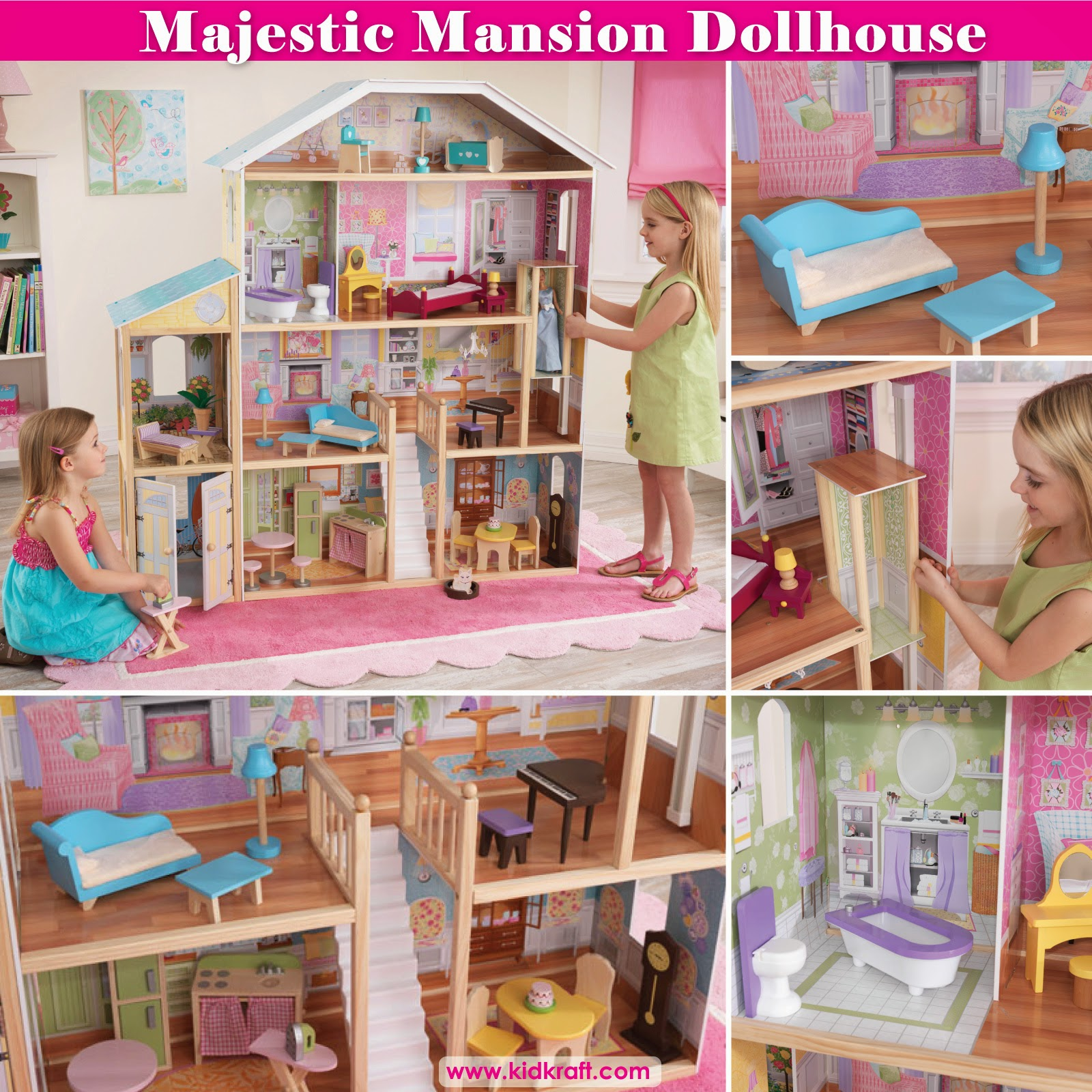 Lovely Kidkraft Majestic Mansion Dollhouse 65252 For Kids Play Room Furniture Ideas: Lovely Kidkraft Majestic Mansion Dollhouse 65252 Made Of Wood For Kids Play Room Furniture Ideas