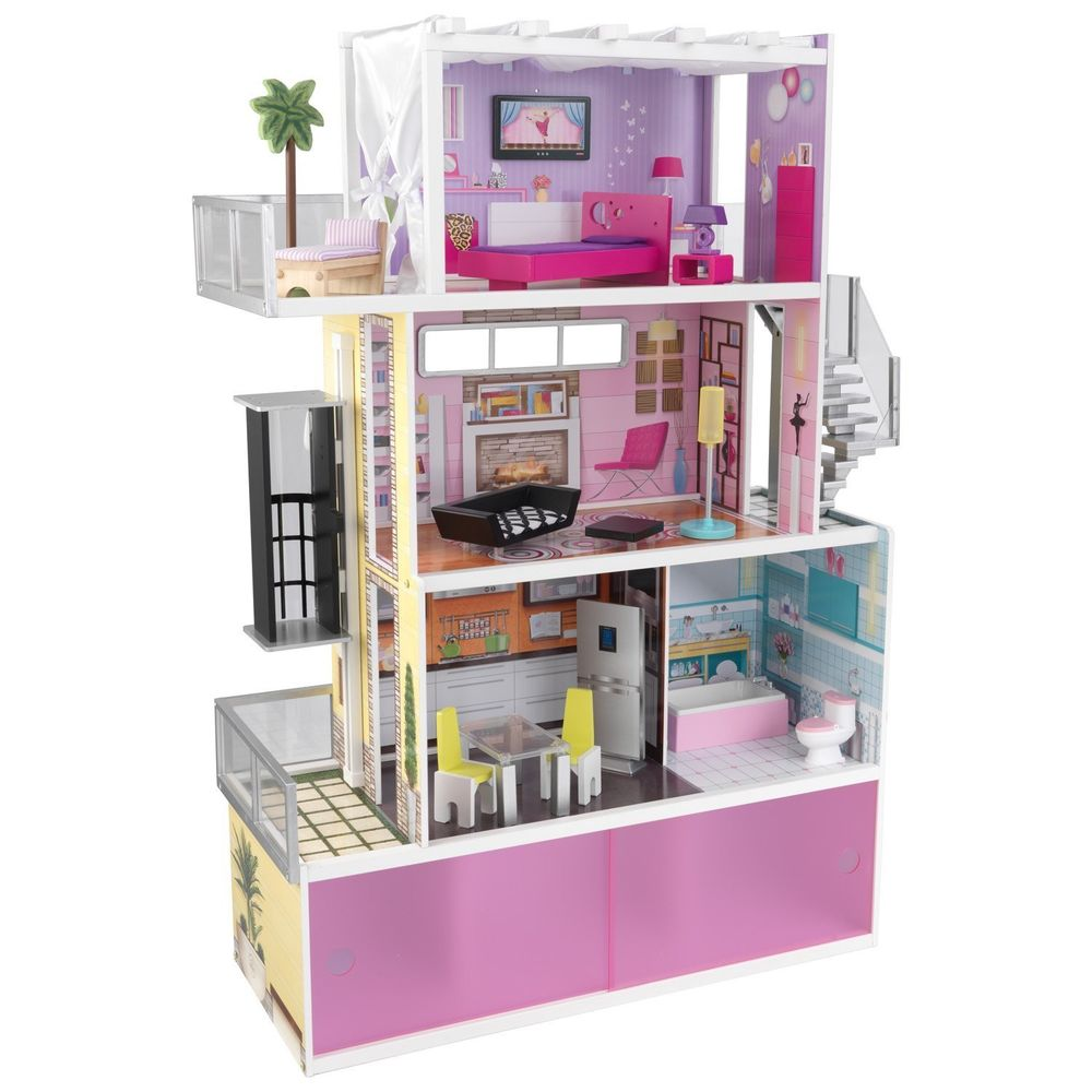 lovely kidkraft majestic mansion dollhouse 65252 made of wood in pink and purple theme for kids room furniture ideas