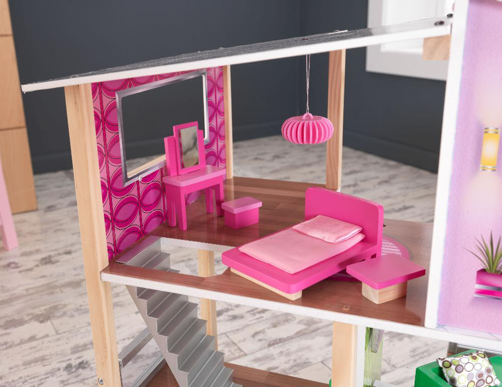 lovely kidkraft majestic mansion dollhouse 65252 made of wood in pink theme for kids play room furniture ideas